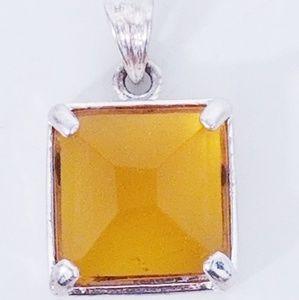 HANDMADE Honey Topaz Pendant in Silver